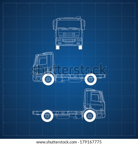 Blueprint commercial vehicle european truck head stock vector blueprint of commercial vehicle european truck head 3 views malvernweather Choice Image