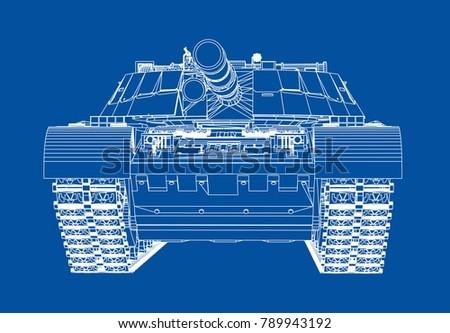 Blueprint Realistic Tank Vector Eps 10 Format Stock Vector 789943192