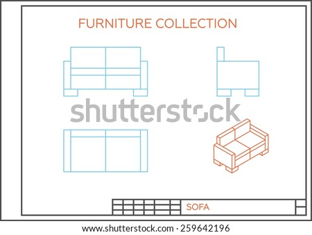 Blueprint sofa vector front view top stock vector 256465291 blueprint of sofa vector front view top view and side view isometric malvernweather Image collections