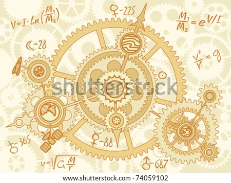blueprint of space mechanic - with planets, gearwheels - stock vector