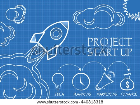 Blueprint space rocket launch start concept stock vector 440818318 blueprint of space rocket launch start up concept flat design style vector illustration malvernweather Gallery