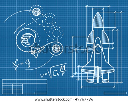 blueprint of the spaceship and its flight path - stock vector