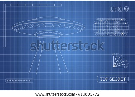 Blueprint ufo technical document drawing alien vector de blueprint of ufo technical document with the drawing of alien spaceship vector illustration malvernweather Gallery