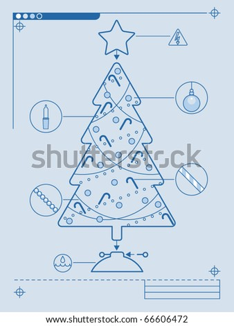 Blueprint style instructions for decorating a Christmas tree - stock vector