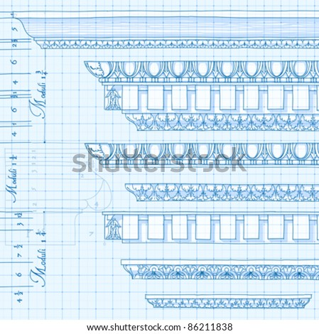 "Blueprint - vintage ornaments - hand draw sketch based ""The Five Orders of Architecture"" is a book on architecture by Giacomo Barozzi da Vignola from 1593. Vector illustration."