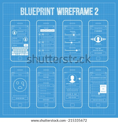Blueprint wireframe mobile app ui kit vector de stock215335672 blueprint wireframe mobile app ui kit 2 chat screen messages screen filters screen malvernweather Images