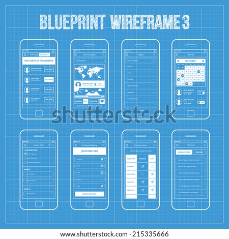 Feed activity mobile app ui wireframe stock vector 308498390 blueprint wireframe mobile app ui kit 3 followers screen search people screen region malvernweather Gallery