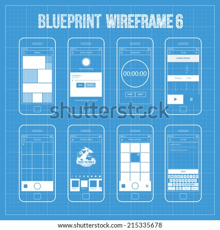 Blueprint wireframe mobile app ui kit stock vector 215335678 blueprint wireframe mobile app ui kit 6 gallery screen voice memos screen stopwatch malvernweather Gallery