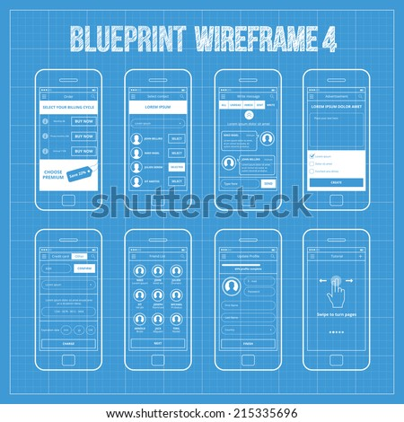 Mobile application interface concept vector illustration vectores en blueprint wireframe mobile app ui kit 4 order screen select contact screen write malvernweather