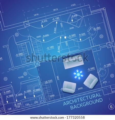 Blueprint furniture vector illustration stock vector 177320558 blueprint with furniture vector illustration malvernweather Choice Image
