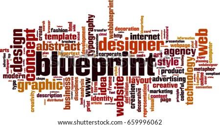 Blueprint word cloud concept vector illustration stock vector blueprint word cloud concept vector illustration malvernweather Choice Image