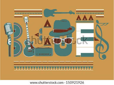 blues music artwork for poster in wooden tone colors  - stock vector