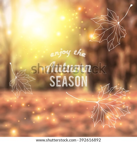 Blurred Autumn park with Sun shining through the leaves. Blurred vector background image for your seasonal design, created with mesh - stock vector