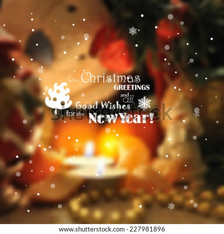Blurred christmas background with lights, candles, snowflakes. - stock vector