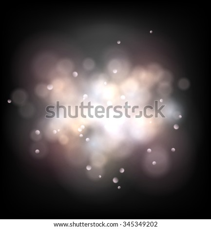 Blurred foggy lights on dark background. EPS10 vector effects.