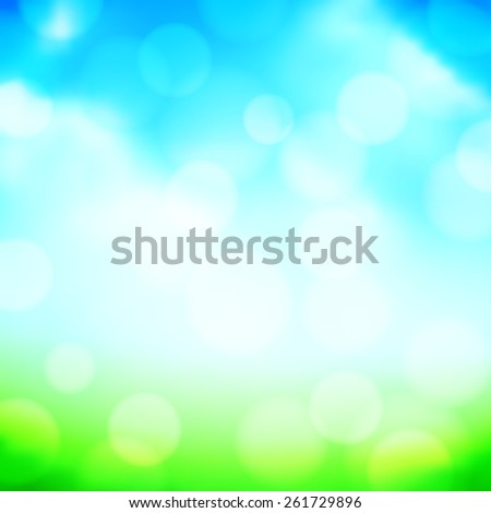 Blurred landscape with green grass and bright blue sky - stock vector