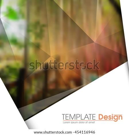 blurred photo realistic nature elements, geometric triangular marketing modern background illustration. eps10 vector - stock vector