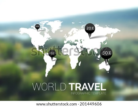 Blurred vector natural background. Map on blurred background. Identity. Points, enjoy travel concept. Web, mobile interface template. Corporate website design or background. Backdrop.  - stock vector