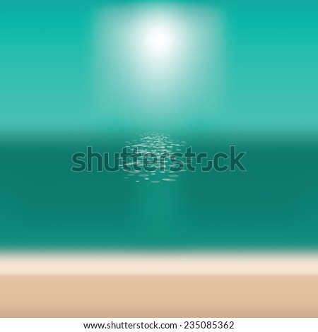Blurry beach background with copy space EPS 10 vector stock illustration - stock vector