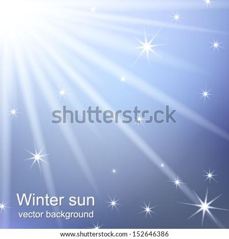 Blurry blue sky with winter sun burst. Vector illustration. - stock vector
