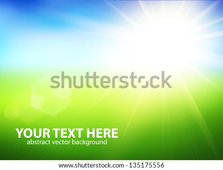 Blurry green field and blue sky with summer sun burst. Vector illustration. - stock vector