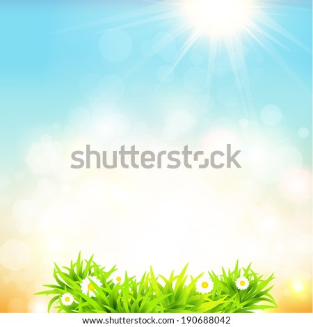 Blurry sand and blue sky with summer sun burst. Vector illustration. - stock vector
