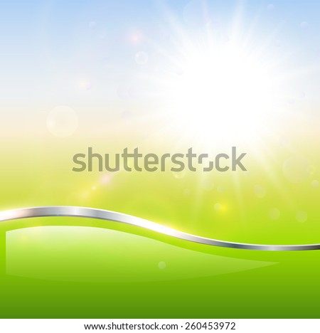 Blurry sunny scene with sun burst, blue and green blur sky, vector illustration - stock vector