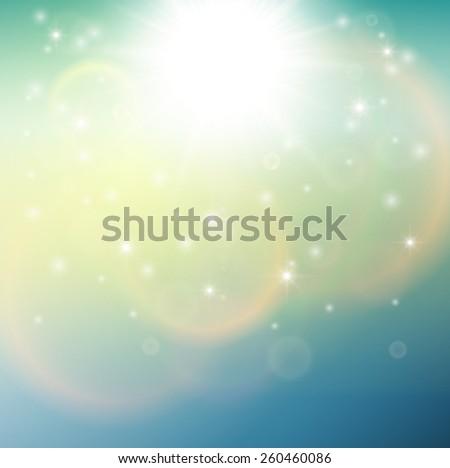 Blurry sunny scene with, sun burst, blue and green blur sky, vector illustration - stock vector