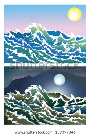 Blusterous sea in the day and night time, vector illustration - stock vector