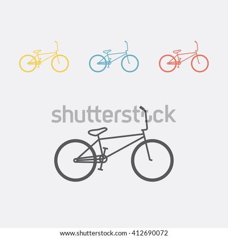 BMX Bicycle isolated. Bike line icon - stock vector