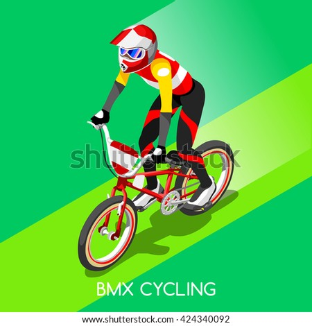 BMX Cyclist Bicyclist Athletes 2016 Summer Games Brasil. 3D Isometric Athlete.Sporting Championship International Competition. Brazil Sport Infographic BMX Cyclist Bicyclist Race olympics Vector Image - stock vector