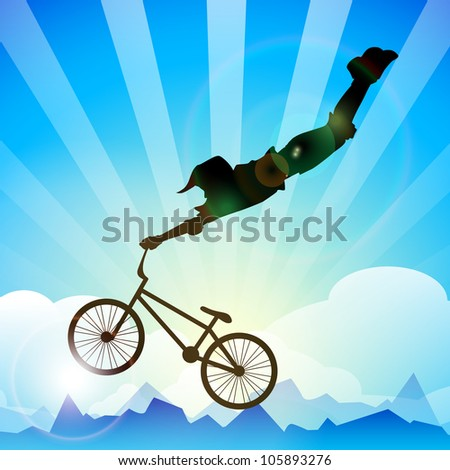 BMX cyclist performing stunt on a beautiful background. EPS 10. - stock vector