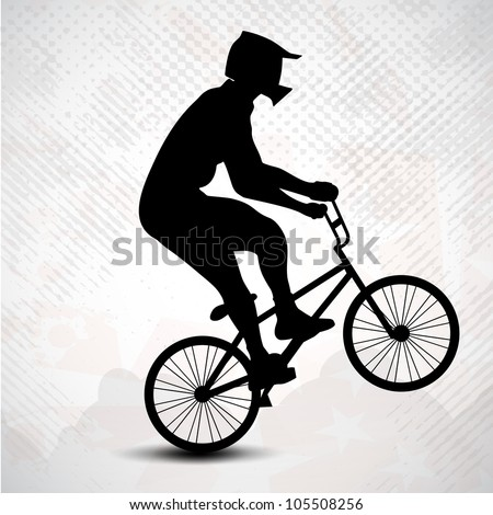 BMX cyclist performing stunt on grungy abstract background. EPS 10. - stock vector