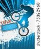 BMX cyclist poster template vector - stock vector