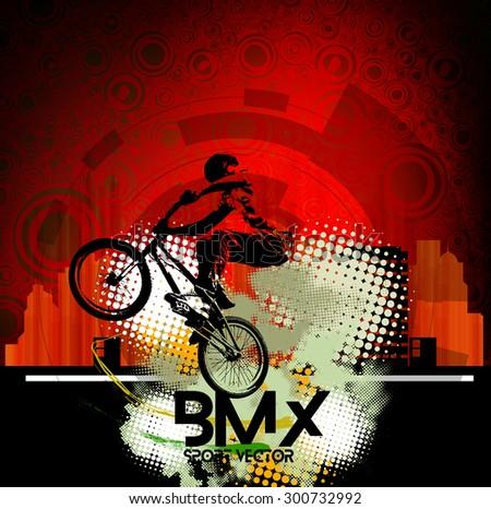 BMX rider. Vector  - stock vector