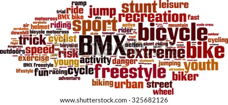 BMX word cloud concept. Vector illustration - stock vector
