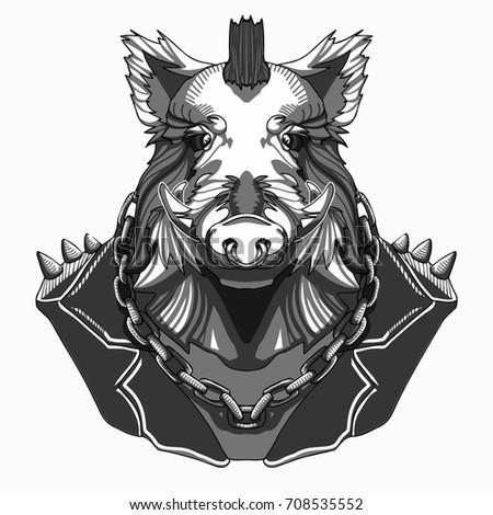 Boar Biker Jacket Pig Art Chain Stock Vector Royalty Free