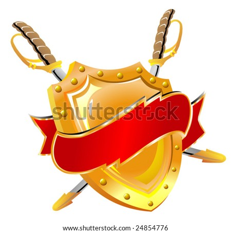 Board and sword surrounded with a tape - stock vector