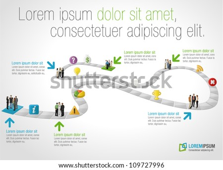 Board game with business people over path - stock vector