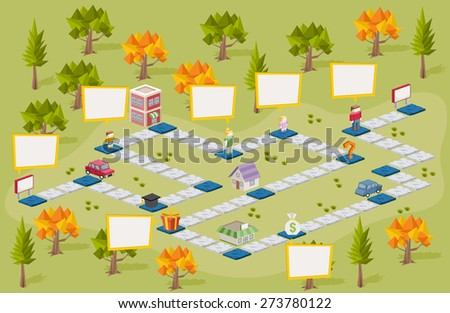 Board game with people on the city. Green park. - stock vector
