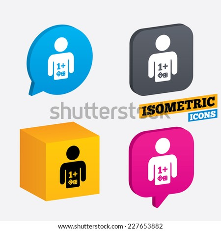 Board games sign icon. One plus players symbol. Dice sign. Isometric speech bubbles and cube. Rotated icons with edges. Vector - stock vector