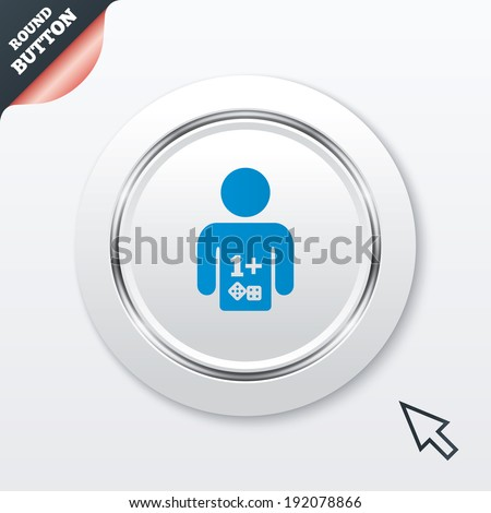 Board games sign icon. One plus players symbol. Dice sign. White button with metallic line. Modern UI website button with mouse cursor pointer. Vector - stock vector