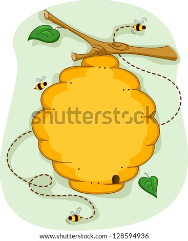 Board Illustration of a Beehive Surrounded by Bees - stock vector
