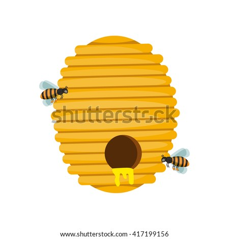 Board Illustration Of Beehive Surrounded By Bees Bee Hive Cartoon Vector And Honey