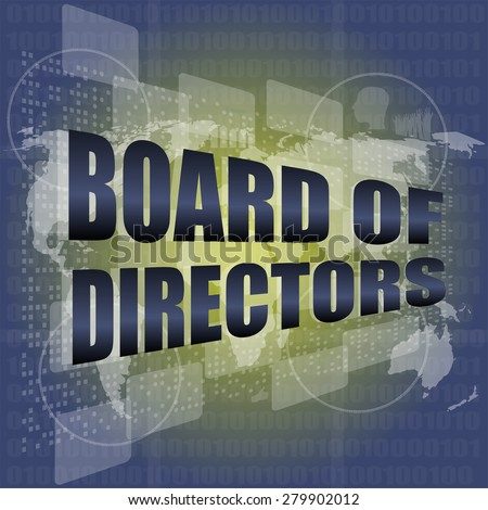 board of directors words on digital screen background with world map vector - stock vector