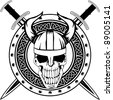 Board of Viking with crossed swords and  skull - stock vector