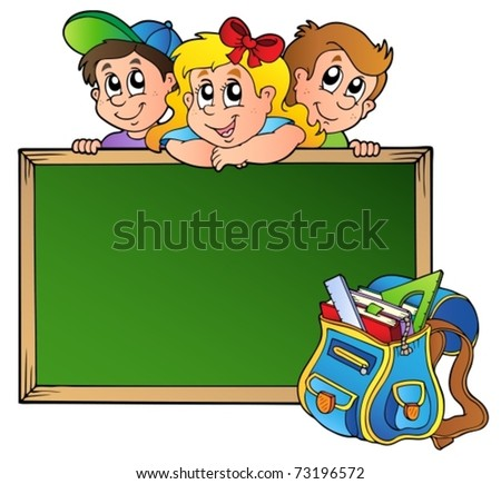 Board with children and school bag - vector illustration. - stock vector
