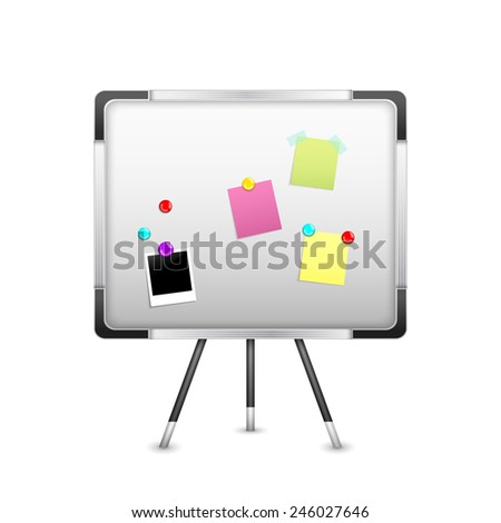 Board with sticker notice and magnets isolated on white background vector illustration - stock vector