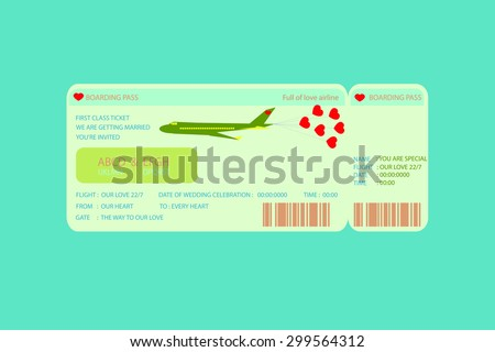 Boarding Pass Ticket , concept wedding Invitation Template - stock vector