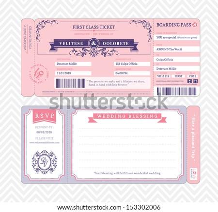 boarding pass ticket wedding invitation template stock vector, Wedding invitations
